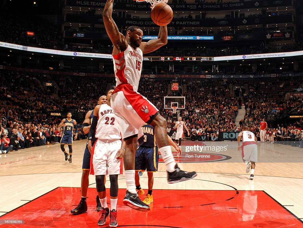 Amir Johnson #15 of the Toronto Raptors dunks against the Indiana Pacers on March 1, 2013 at the Air Canada Centre in Toronto, Ontario, Canada.