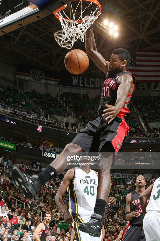 <a gi-track='captionPersonalityLinkClicked' href=/galleries/search?phrase=Amir+Johnson&family=editorial&specificpeople=556786 ng-click='$event.stopPropagation()'>Amir Johnson</a> #15 of the Toronto Raptors dunks against the Utah Jazz at Energy Solutions Arena on December 07, 2012 in Salt Lake City, Utah.