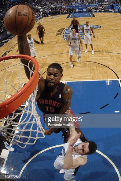 Amir Johnson of the Toronto Raptors dunks the ball against the Orlando Magic during the game on January 24 2013 at Amway Center in Orlando Florida...