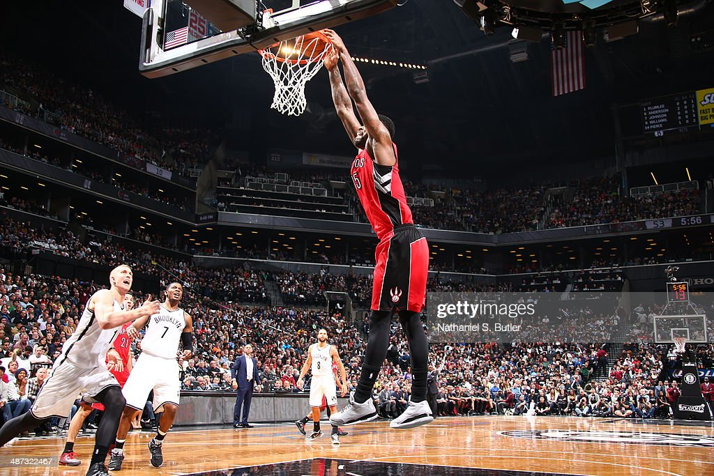<a gi-track='captionPersonalityLinkClicked' href=/galleries/search?phrase=Amir+Johnson&family=editorial&specificpeople=556786 ng-click='$event.stopPropagation()'>Amir Johnson</a> #15 of the Toronto Raptors dunks the ball against the Brooklyn Nets during Game Four of the Eastern Conference Quarterfinals at Barclays Center in Brooklyn.