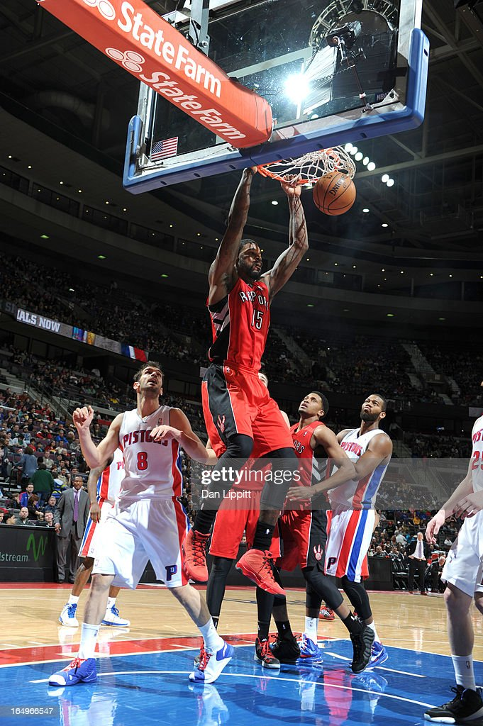 Amir Johnson #15 of the Toronto Raptors dunks the ball during the game between the Detroit Pistons and the Toronto Raptors on March 29, 2013 at The Palace of Auburn Hills in Auburn Hills, Michigan.