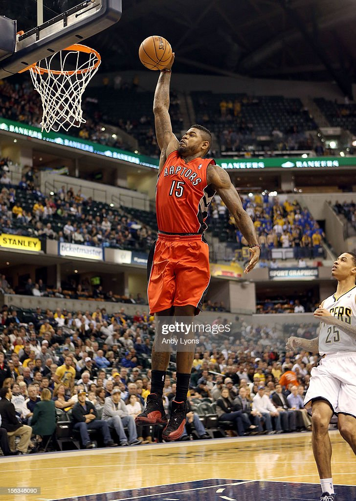 Amir Johnson #15 of the Toronto Raptors dunks the ball during the NBA game against the Indiana Pacersat Bankers Life Fieldhouse on November 13, 2012 in Indianapolis, Indiana.