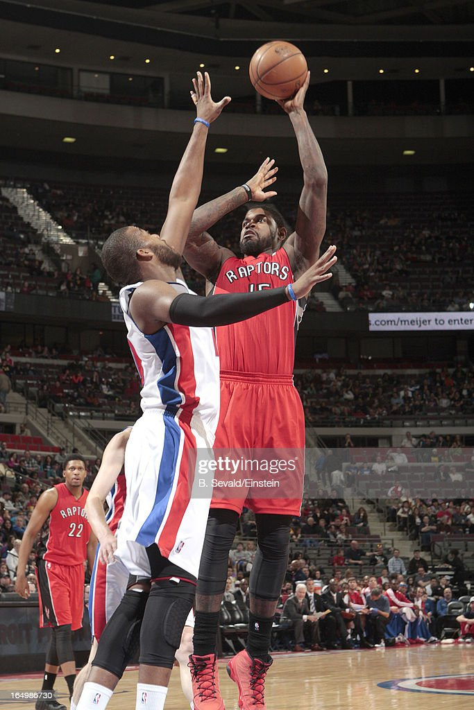 Amir Johnson #15 of the Toronto Raptors goes for a jump shot during the game between the Detroit Pistons and the Toronto Raptors on March 29, 2013 at The Palace of Auburn Hills in Auburn Hills, Michigan.