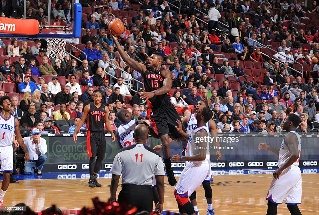 Amir Johnson #15 of the Toronto Raptors goes to the basket against the Philadelphia 76ers during the game at the Wells Fargo Center on November 20, 2012 in Philadelphia, Pennsylvania.