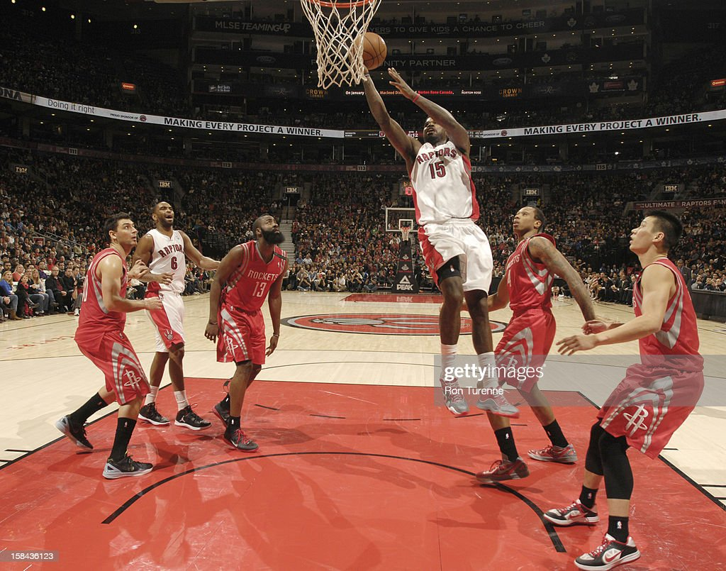 <a gi-track='captionPersonalityLinkClicked' href=/galleries/search?phrase=Amir+Johnson&family=editorial&specificpeople=556786 ng-click='$event.stopPropagation()'>Amir Johnson</a> #15 of the Toronto Raptors goes to the basket during the game between the Toronto Raptors and the Houston Rockets December 16, 2012 at the Air Canada Centre in Toronto, Ontario, Canada.