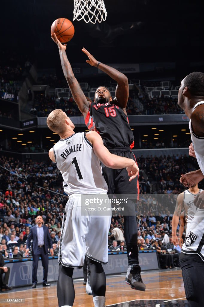 <a gi-track='captionPersonalityLinkClicked' href=/galleries/search?phrase=Amir+Johnson&family=editorial&specificpeople=556786 ng-click='$event.stopPropagation()'>Amir Johnson</a> #15 of the Toronto Raptors goes up for a shot against the Brooklyn Nets on March 10, 2014 at the Barclays Center in Brooklyn, New York.
