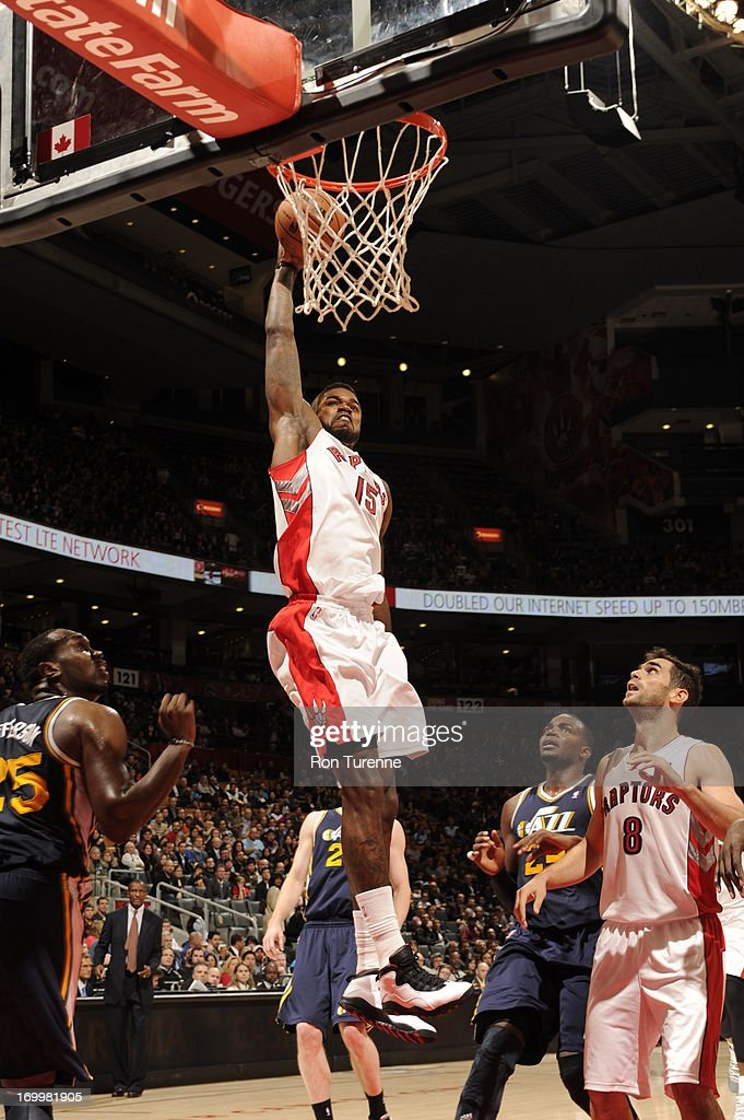 <a gi-track='captionPersonalityLinkClicked' href=/galleries/search?phrase=Amir+Johnson&family=editorial&specificpeople=556786 ng-click='$event.stopPropagation()'>Amir Johnson</a> #15 of the Toronto Raptors goes up for the dunk against the Utah Jazz during the game on November 12, 2012 at the Air Canada Centre in Toronto, Ontario, Canada.