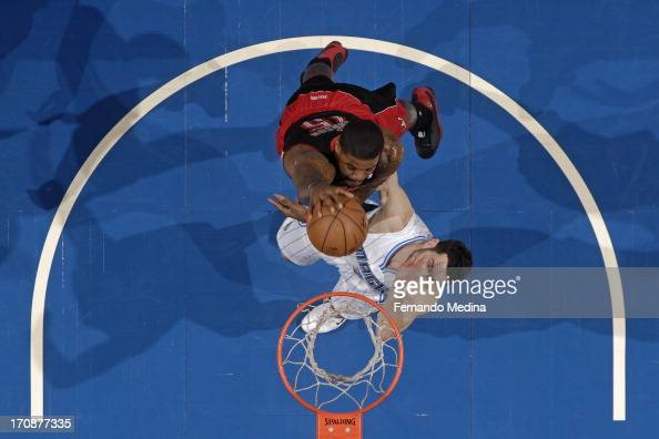 Amir Johnson of the Toronto Raptors goes up for the dunk against the Orlando Magic during the game on January 24 2013 at Amway Center in Orlando...