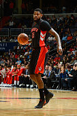 Amir Johnson of the Toronto Raptors handles the ball against the Washington Wizards at the Verizon Center on January 31 2015 in Washington DC