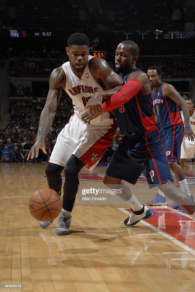 Amir Johnson #15 of the Toronto Raptors handles the ball against the Detroit Pistons on April 13, 2014 at The Palace of Auburn Hills in Auburn Hills, Michigan.