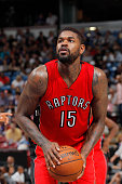 Amir Johnson of the Toronto Raptors in a game against the Sacramento Kings on October 7 2014 at Sleep Train Arena in Sacramento California NOTE TO...