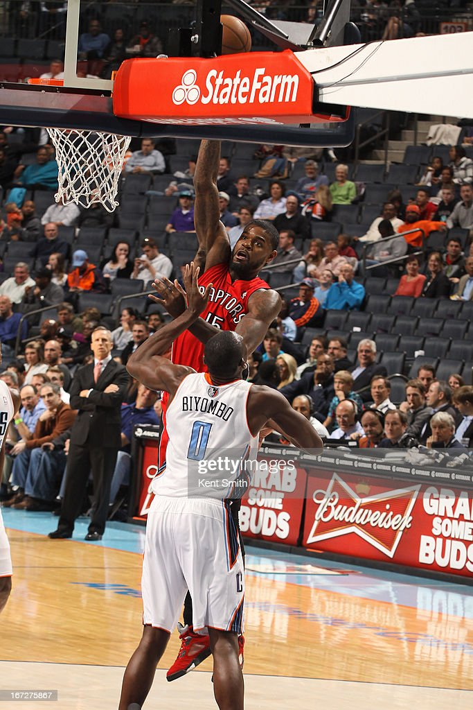 Amir Johnson #15 of the Toronto Raptors puts up a shot against the Charlotte Bobcats at the Time Warner Cable Arena on March 20, 2013 in Charlotte, North Carolina.
