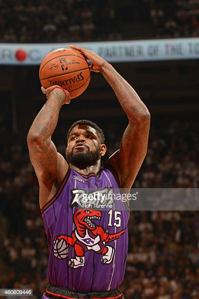 Amir Johnson of the Toronto Raptors shoots a free throw against the Brooklyn Nets during the game on December 17 2014 at the Air Canada Centre in...