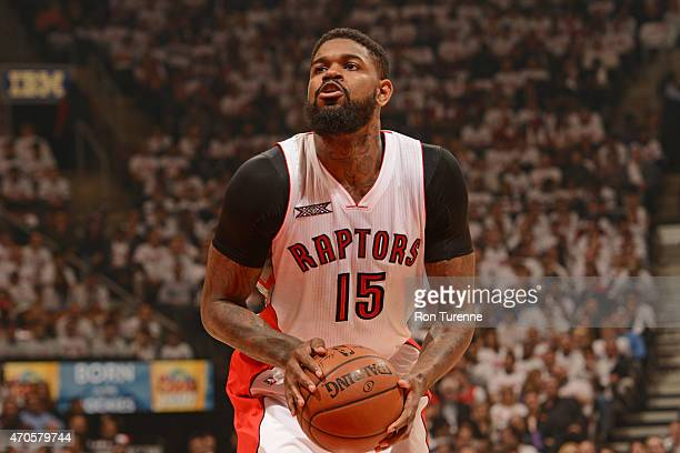 Amir Johnson of the Toronto Raptors shoots a free throw against the Washington Wizards in Game Two of the Eastern Conference Quarterfinals during the...