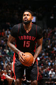 Amir Johnson of the Toronto Raptors shoots against the Brooklyn Netsduring the game on January 30 2015 at Barclays Center in Brooklyn New York NOTE...