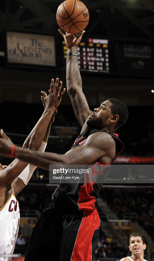 Amir Johnson #15 of the Toronto Raptors shoots against the Cleveland Cavaliers at The Quicken Loans Arena on February 27, 2013 in Cleveland, Ohio.
