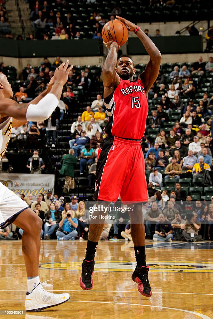 Amir Johnson #15 of the Toronto Raptors shoots against the Indiana Pacers on November 13, 2012 at Bankers Life Fieldhouse in Indianapolis, Indiana.