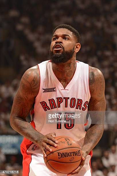 Amir Johnson of the Toronto Raptors shoots against the Washington Wizards during Game One of the Eastern Conference Quarterfinals during the NBA...