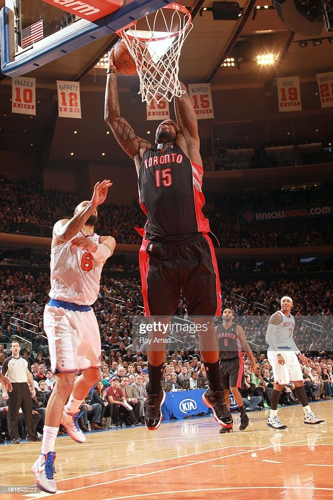 <a gi-track='captionPersonalityLinkClicked' href=/galleries/search?phrase=Amir+Johnson&family=editorial&specificpeople=556786 ng-click='$event.stopPropagation()'>Amir Johnson</a> #15 of the Toronto Raptors shoots against <a gi-track='captionPersonalityLinkClicked' href=/galleries/search?phrase=Tyson+Chandler&family=editorial&specificpeople=202061 ng-click='$event.stopPropagation()'>Tyson Chandler</a> #6 of the New York Knicks on February 13, 2013 at Madison Square Garden in New York City.