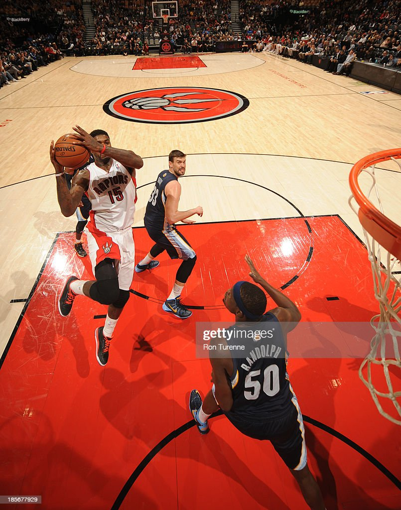 <a gi-track='captionPersonalityLinkClicked' href=/galleries/search?phrase=Amir+Johnson&family=editorial&specificpeople=556786 ng-click='$event.stopPropagation()'>Amir Johnson</a> #15 of the Toronto Raptors shoots the ball during the game against the Memphis Grizzlies on October 23, 2013 at the Air Canada Centre in Toronto, Ontario, Canada.