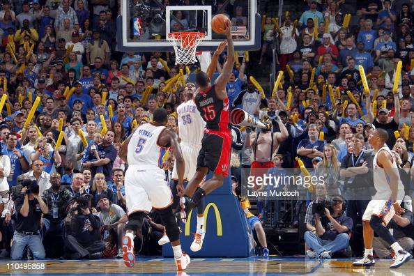 Amir Johnson of the Toronto Raptors shoots the game winning shot against the Oklahoma City Thunder during the game on March 20 2011 at the Oklahoma...