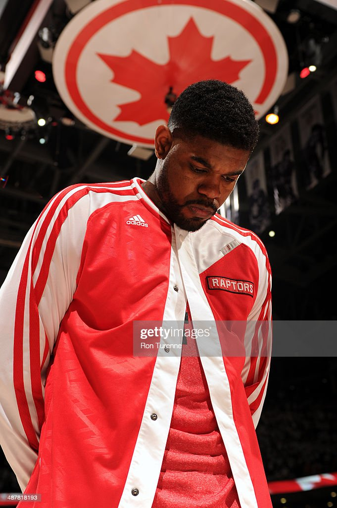 <a gi-track='captionPersonalityLinkClicked' href=/galleries/search?phrase=Amir+Johnson&family=editorial&specificpeople=556786 ng-click='$event.stopPropagation()'>Amir Johnson</a> #15 of the Toronto Raptors stands on the court before Game Two of the Eastern Conference Quarterfinals against the Brooklyn Nets during the 2014 NBA Playoffs on April 30, 2014 at the Air Canada Centre in Toronto, Ontario, Canada.