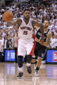 Amir Johnson of the Toronto Raptors steals the ball against the Brooklyn Nets in Game Two of the NBA Eastern Conference Quarterfinals at the Air...