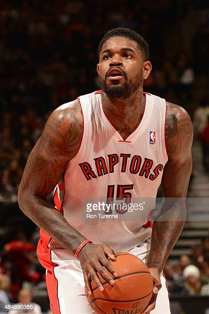 Amir Johnson of the Toronto Raptors takes a free throw against the Washington Wizards on February 27 2014 at the Air Canada Centre in Toronto Ontario...