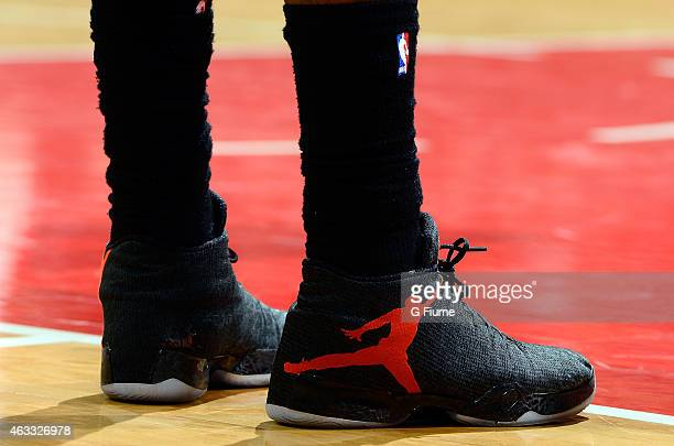 Amir Johnson of the Toronto Raptors wears Nike shoes during the game against the Washington Wizards at the Verizon Center on January 31 2015 in...