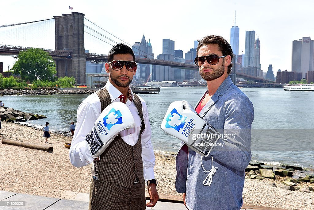 Amir Khan and Chris Algieri promote their May 29th Barclays Center fight at Brooklyn's Main Street Park on May 26 2015 in New York City