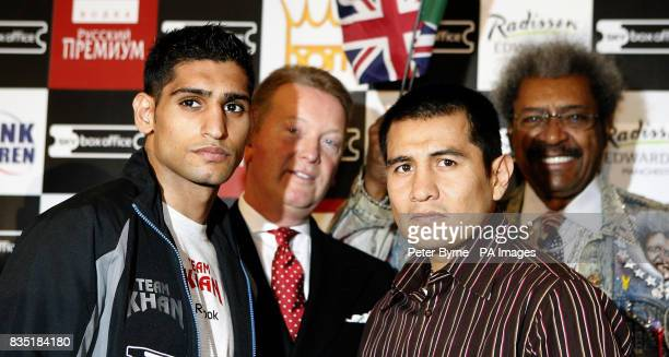 Amir Khan and Marco Antonio Barrera during the head to head at the Radisson Edwardian Hotel Manchester