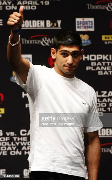 Amir Khan at Planet Hollywood hotel before Saturday's bout in Las Vegas