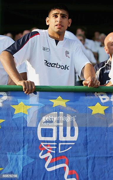 Amir Khan boxer and supporter of Bolton during the UEFA Cup 1st round second leg match between and Lokomotiv Plovdiv and Bolton Wanderers at the...