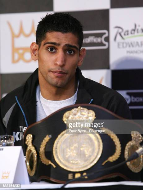 Amir Khan during the head to head at the Radisson Edwardian Hotel Manchester