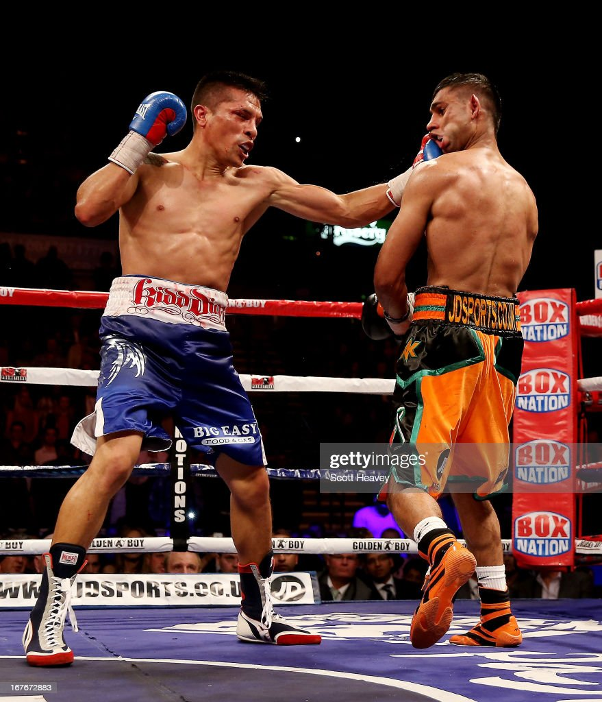 Amir Khan is caught by Julio Diaz at Motorpoint Arena on April 27 2013 in Sheffield England