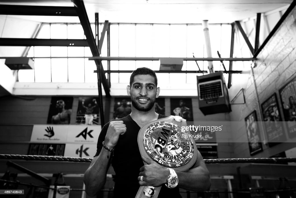 Amir Khan poses during the launch of The Amir Khan Foundation at the at the Gloves Community Centre on May 12 2014 in Bolton England