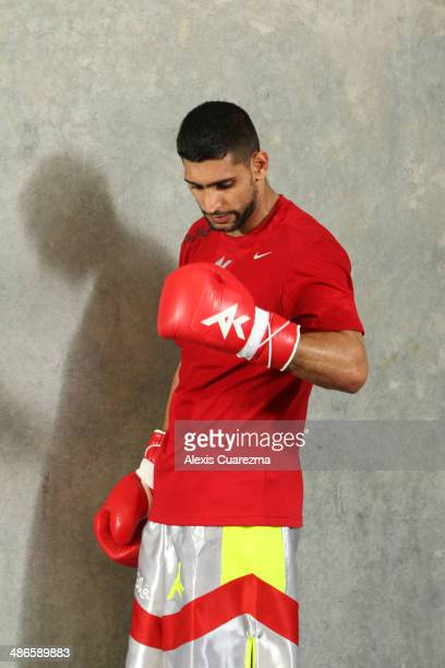 Amir Khan takes a break during a workout session at Virgil Hunter's Gym on April 24 2014 in Hayward California Kahn is preparing to take on Luis...