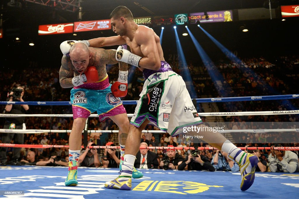 Amir Khan throws a right at Luis Collazo during their welterweight bout at the MGM Grand Garden Arena on May 3 2014 in Las Vegas Nevada