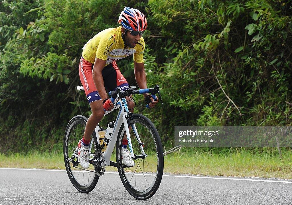 Amir Kolahdouz Hagh of Pishgaman Cycling Team Iran competes during stage eight of the 2016 Tour de Singkarak Bukittinggi Padang 146 km on August 14...