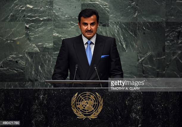 Amir of Qatar Sheikh Tamim bin Hamad al Thani addresses the 70th Session of the UN General Assembly September 28 2015 in New York AFP PHOTO / TIMOTHY...