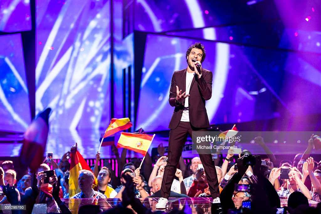 Amir representing France performs the song 'J'ai cherche' during the final dress rehearsal of the 2016 Eurovision Song Contest at Ericsson Globe...
