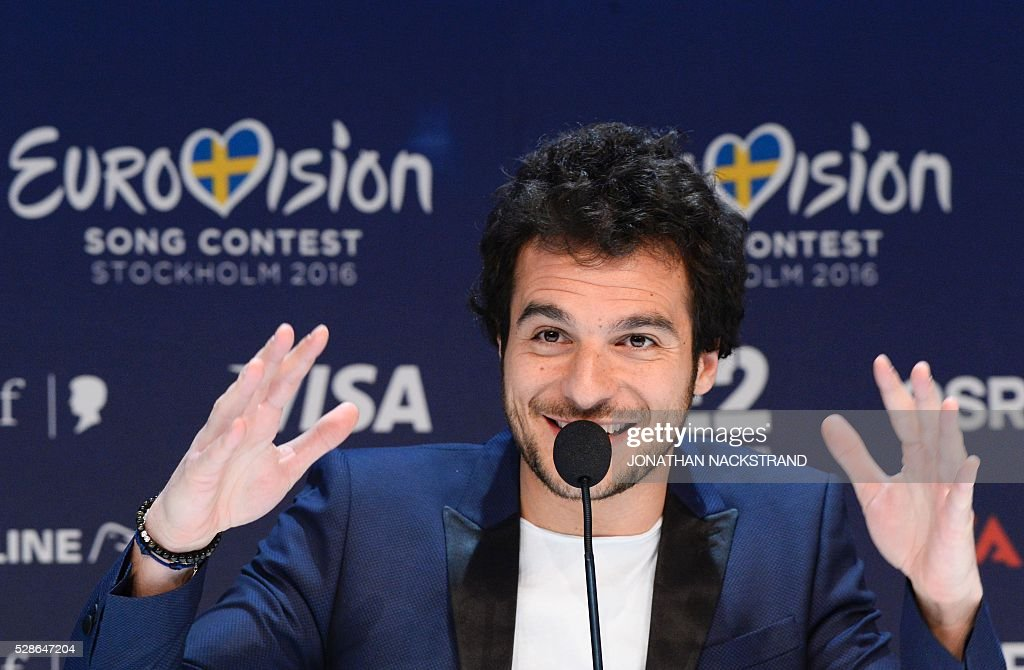 Amir representing France with the song Jai Cherche attends a press conference after his first rehearsal ahead of the Eurovision Song Contest 2016 in Stockholm, on May 6, 2016. The contest will consist of two semi-finals on 10 and 12 May and the final on 14 May 2016 at the Ericsson Globe in Stockholm. / AFP / JONATHAN