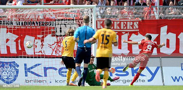 Amir Shapourzadeh of Wuerzburg scores the opening/first goal during the Third League match between Wuerzburger Kickers and Dynamo Dresden at...