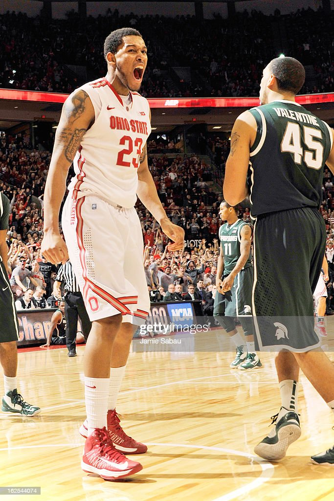 Amir Williams #23 of the Ohio State Buckeyes celebrates after making a shot while being fouled in the second half against Michigan State on February 24, 2013 at Value City Arena in Columbus, Ohio. Ohio State defeated Michigan State 68-60.