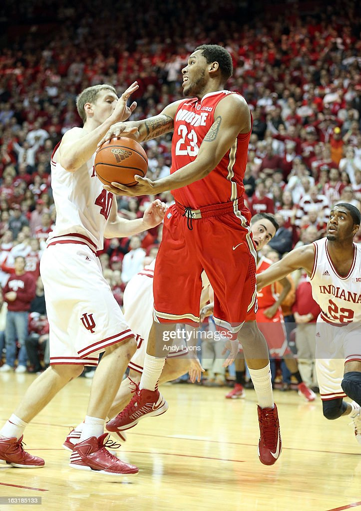 Amir Williams #23 of the Ohio State Buckeyes grabs a rebound during the game against the Indiana Hoosiers at Assembly Hall on March 5, 2013 in Bloomington, Indiana. Ohio State won 67-58.