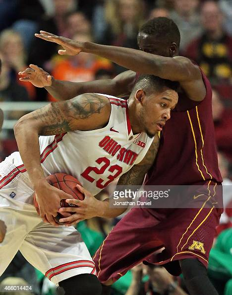 Amir Williams of the Ohio State Buckeyes moves against Bakary Konate of the Minnesota Golden Gophers during the second round of the 2015 Big Ten...