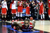 Amir Williams of the Ohio State Buckeyes reacts after being fouled against the Virginia Commonwealth Rams in the second half during the second round...