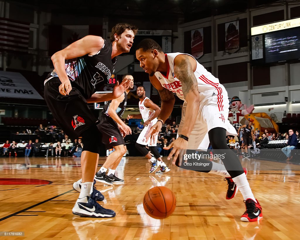 Amir Williams of the Rio Grande Valley Vipers dribbles the ball against the Idaho Stampede at CenturyLink Arena on February 20 2016 in Boise Idaho...