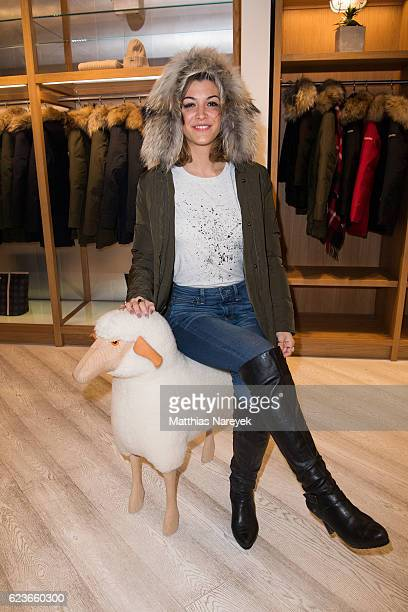 Amira El Sayed attends the 'The Woolrich Mill Tradition And Future Of Wool' photo exhibition opening by Woolmark and Woolrich on November 16 2016 in...