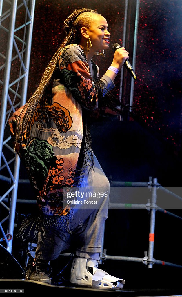 Amira McCarthy of Neon Jungle onstage at the switch on of the Manchester Christmas lights at Albert Square on November 8, 2013 in Manchester, England.
